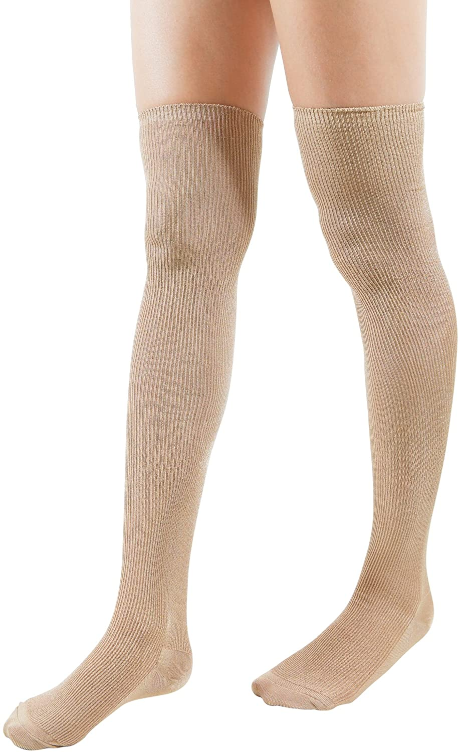 Shiny Over The Knee Socks Ribbed Fashion Design Cotton Vivid Color