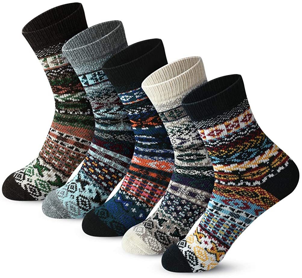 FYC 5 Pairs Womens Thick Knitted Wool Warm Socks Casual Socks for Women Free Size