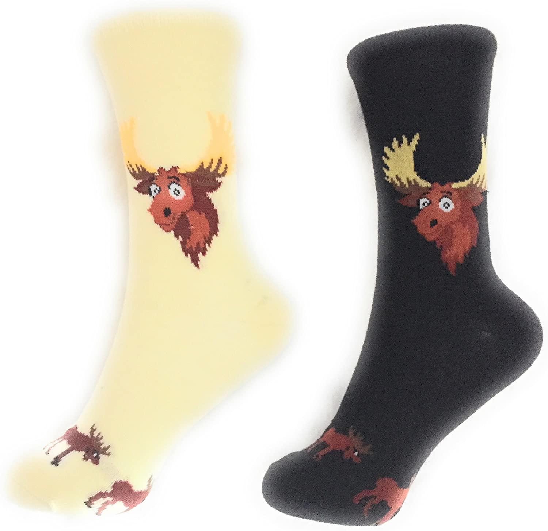 2 Pack Socks MoosePattern Novelty Crew Socks Fun Fashion Casual Comfy Cozy (2 Pack)