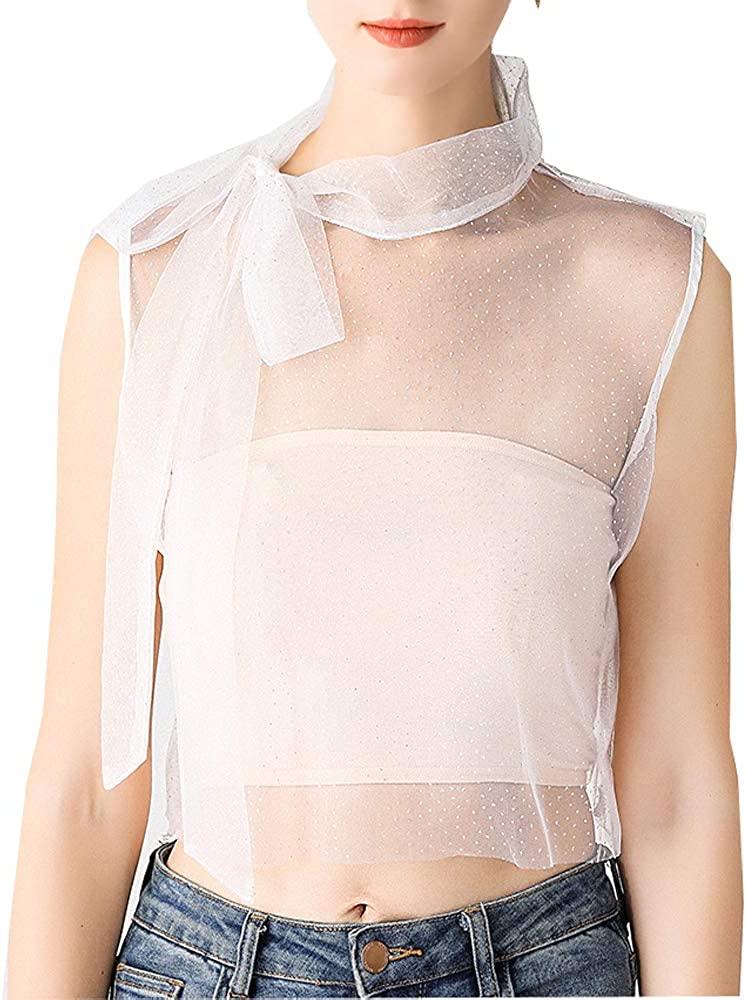 YEKEYI Women's False Faux Collar Shirt Fake Collar Big Bowknot Chiffon Half Shirt Detachable Collar