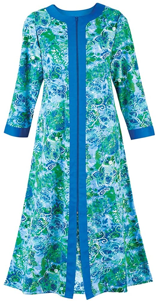 Collections Etc Women's Paisley Zip-Front Robe Purple Large