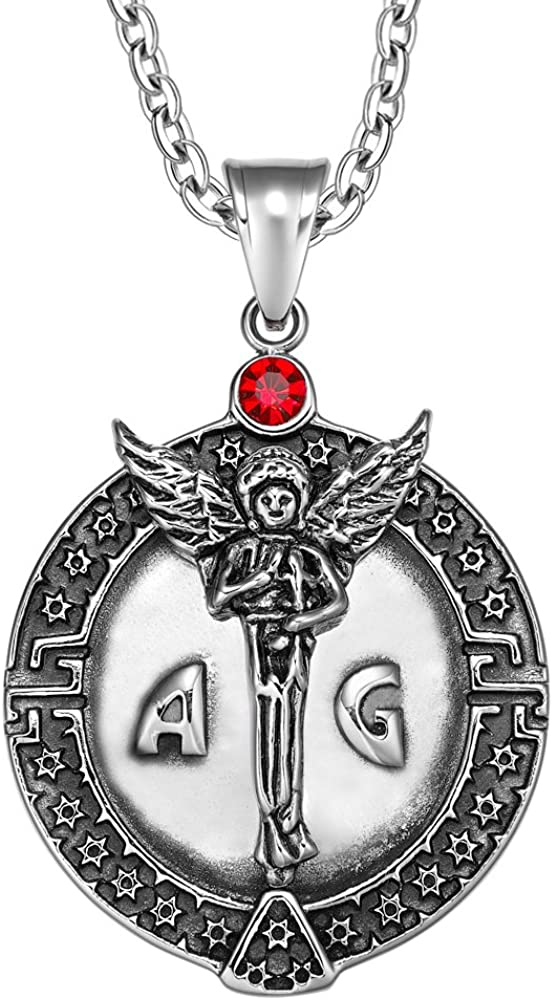 Guardian Archangel Michael Medallion Star of David Accents Protection Amulet Crystal Pendant Necklace