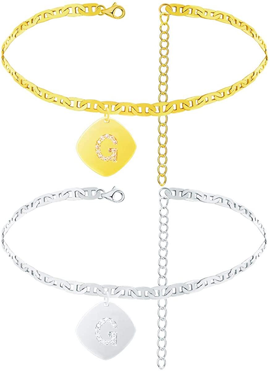 ZZ ZINFANDEL 2 Pcs Initial Anklet Gold Silver Ankle Bracelets Mariner Chain Letter Alphabet Anklets Cuban Ankle Bracelet Crystal Pendant Anklets for Women Teen Girls