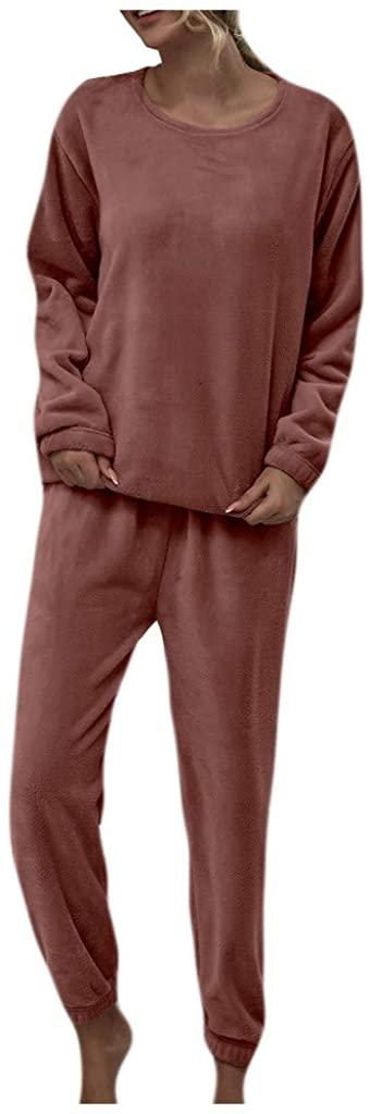 MEDRESPIRIA Womens Nightwear Pajama Sets,Solid Color Flannel Pants Sets Leisure Wear Lounge Wear Suit Long Sleeve Pajama Set