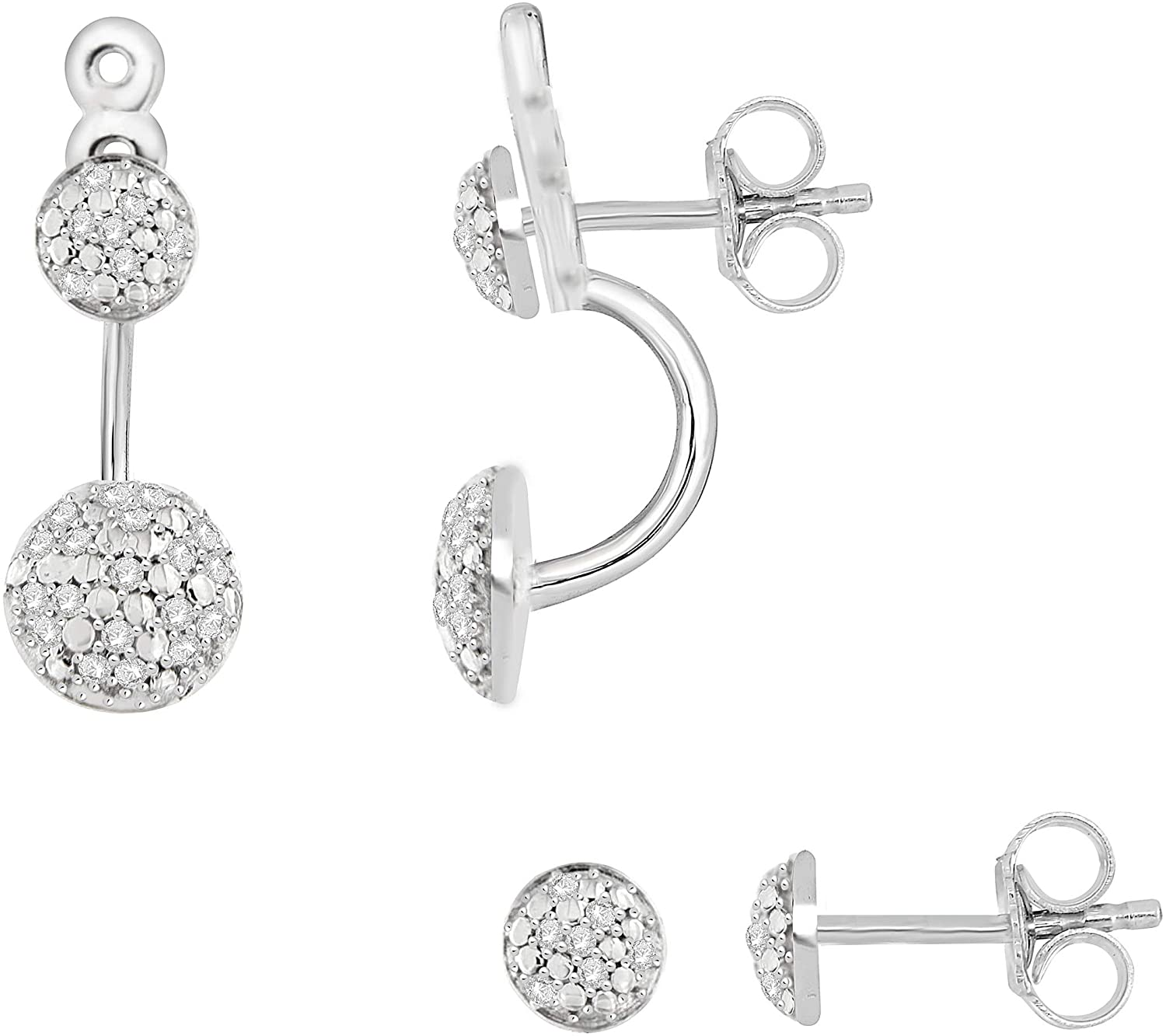 NATALIA DRAKE 2 in 1 Front to Back Pave 1/4 Cttw Diamond Earrings for Women in Rhodium Plated Sterling Silver (Color H-I/Clarity I1-I2)
