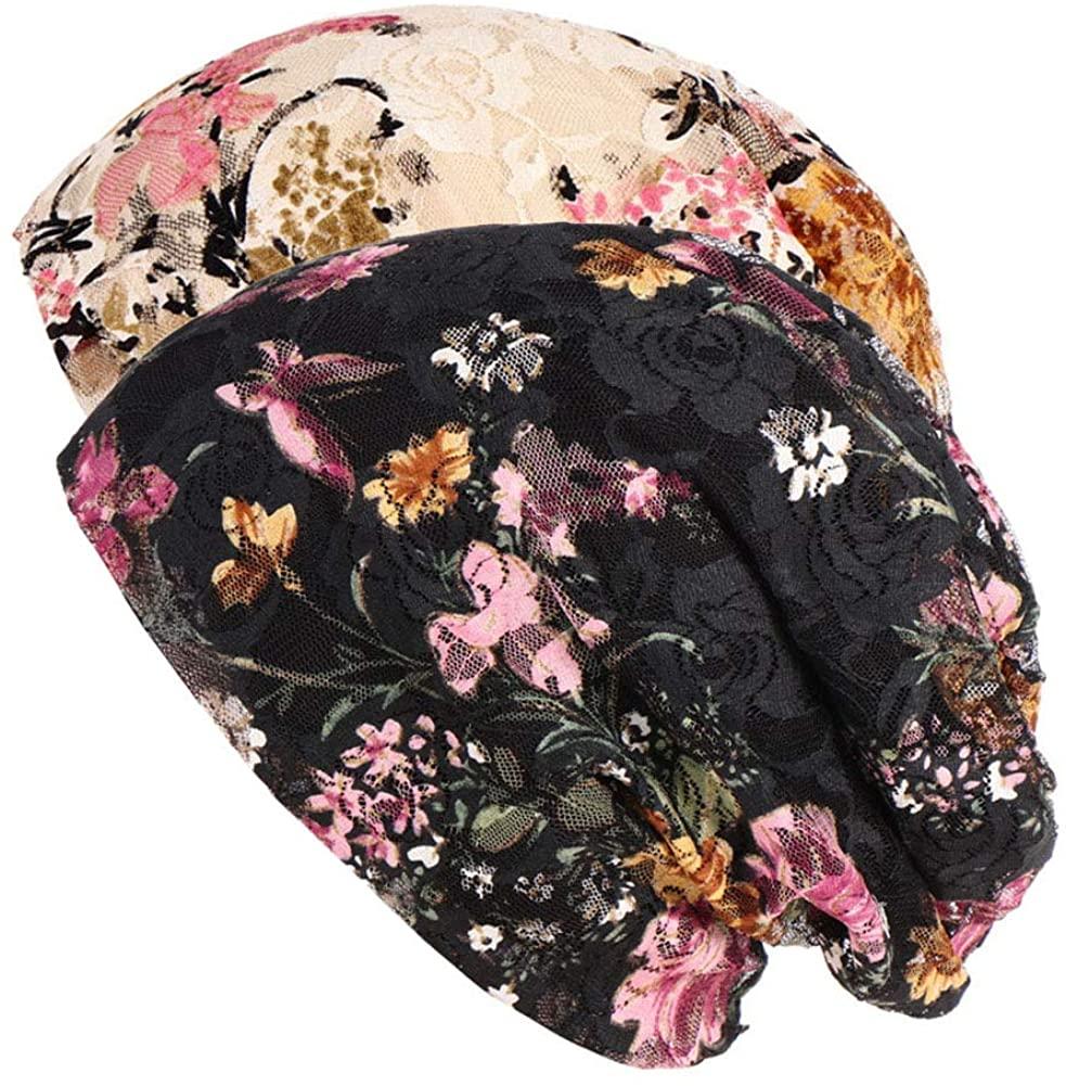 Womens Lace Beanie Chemo Caps, Satin Lined Chemo Headwear Beanie for Women Girl