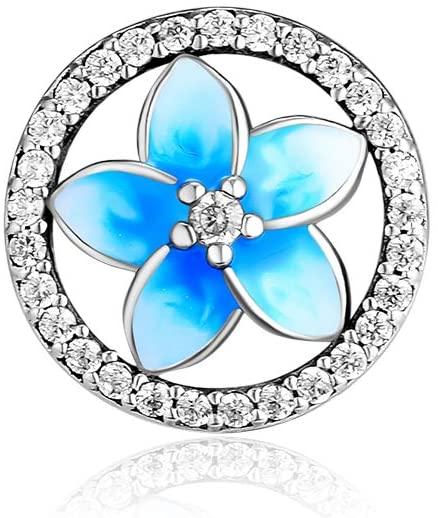 CKK Flower Charm Fit Pandora Bracelet Purple Enamel Plumeria Spacer Bead Charms for Bracelets DIY Women Jewelry 925 Sterling Silver (Blue Crystal)