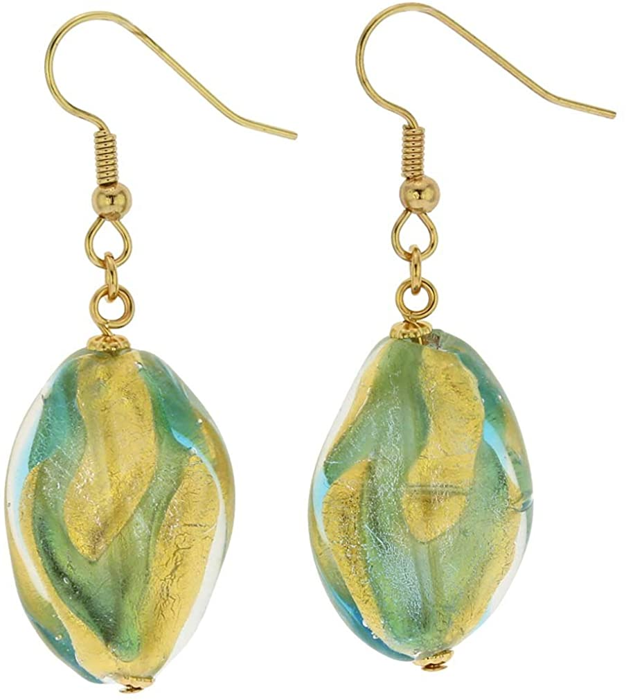 GlassOfVenice Murano Glass Royal Aqua Spiral Earrings