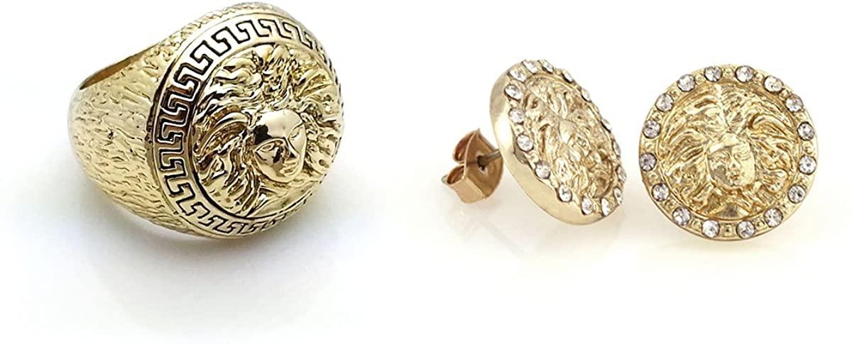 Size 9 Medusa Head Gold Tone Mens Ring with Earrings Set