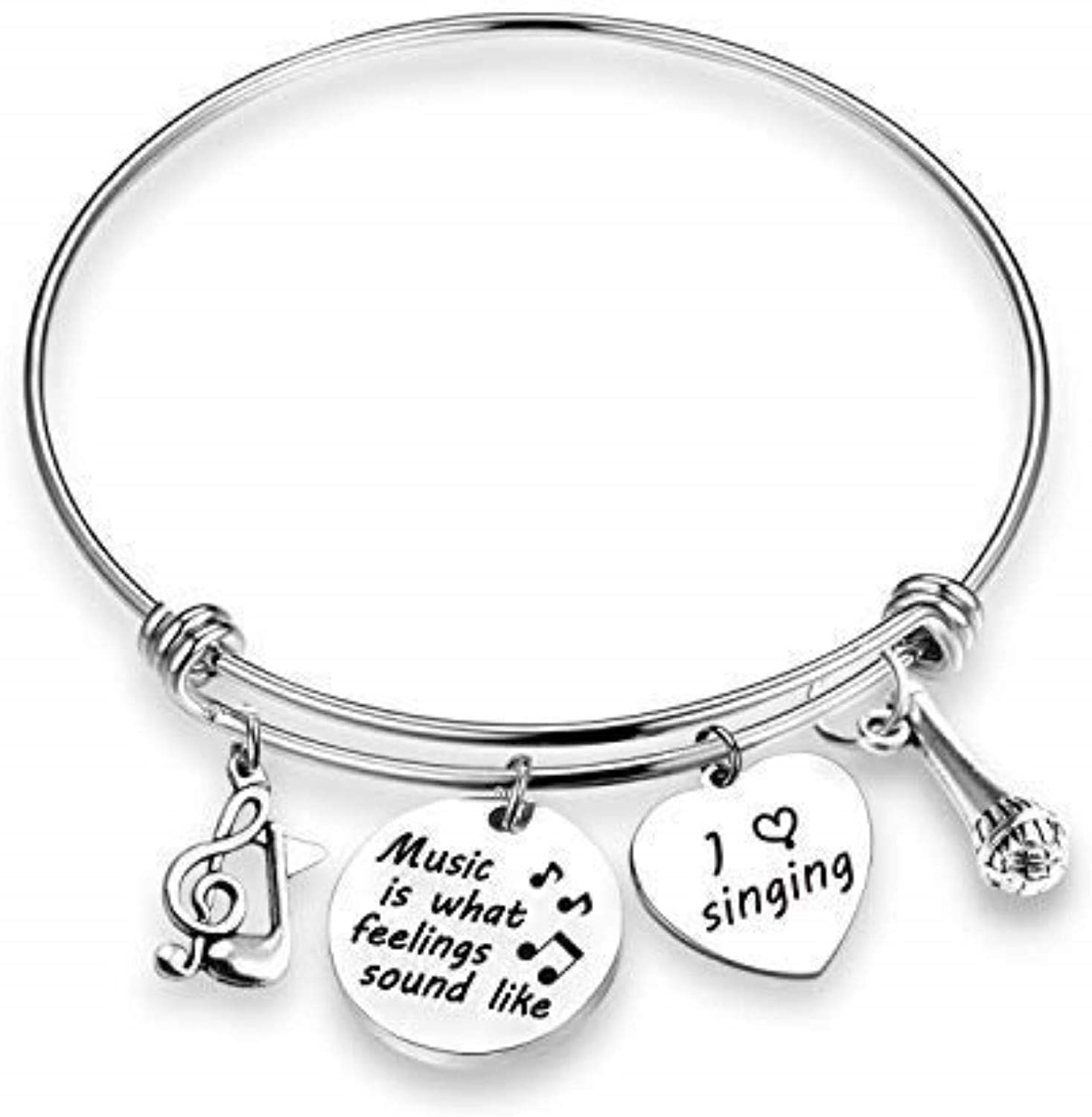 Ribukat Music Lover Bracelet Music is What Feelings Sound Like Music Lover Gifts Musical Jewelry Singing Bracelet Singer Charm Jewelry