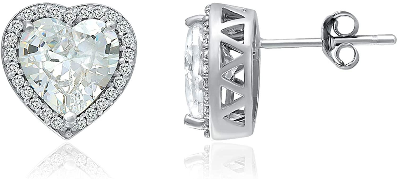 925 Sterling Silver CZ Cubic Zirconia Heart Shape Halo Stud Earrings for Women, 8mm