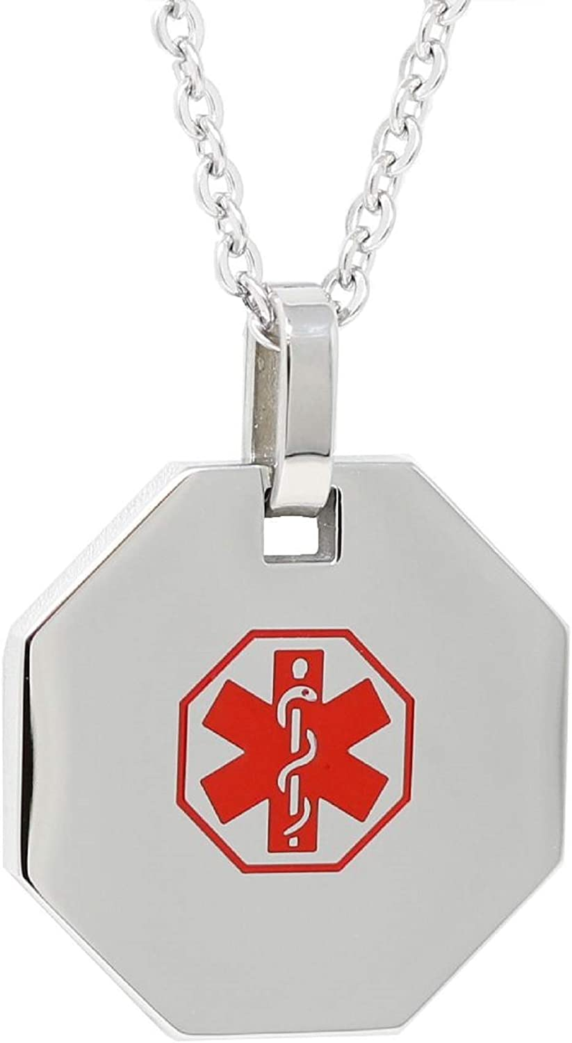 My Identity Doctor - Pre-Engraved & Customizable Diabetic Alert Medical ID Necklace