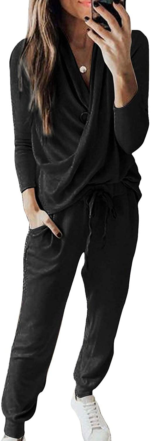 2 Piece Outfits for Women, V Neck Long Sleeve Top and Drawstring Long Pants Loungewear, Casual Sweatsuits Pajamas Set