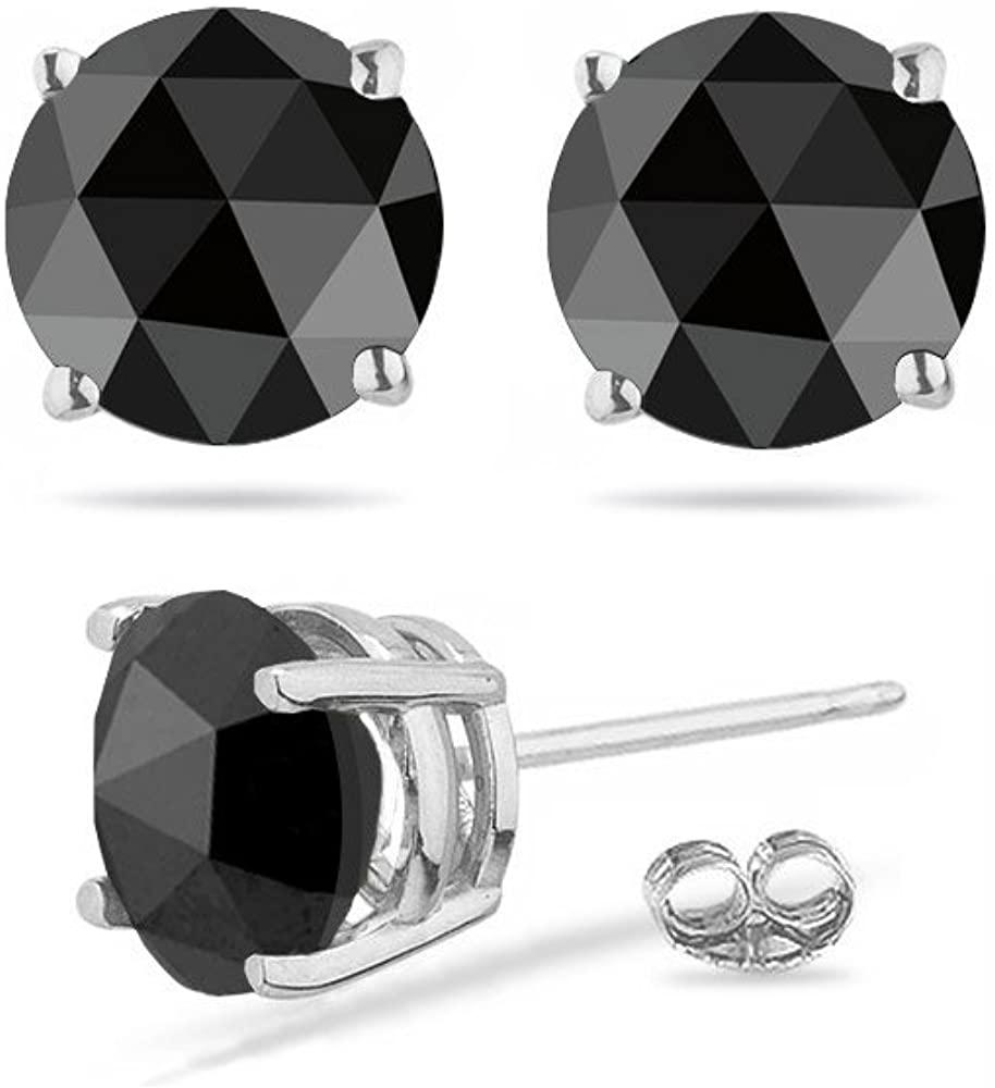 1.00 Ct of 5.40-5.50 mm AA Round Rose Cut Black Diamond Stud Earrings in 18K White Gold-Screw Backs