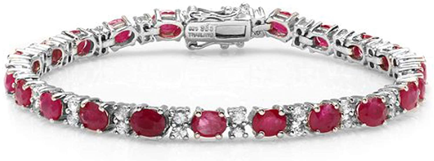 Dazzlingrock Collection 15.00 CT Oval & Round Cut Red Ruby & White Topaz 925 Tennis Bracelet (4 MM Width x 7.5 Inch Length), Sterling Silver