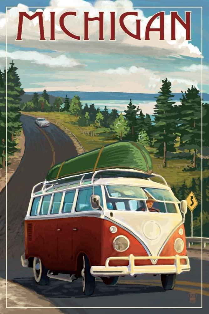 Michigan - Camper Van and Lake (12x18 Art Print, Wall Decor Travel Poster)