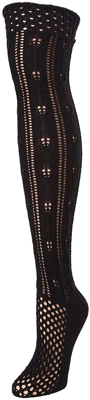 MeMoi Fondant Crochet Stripe Boot Sock - Over the Knee Knit Socks