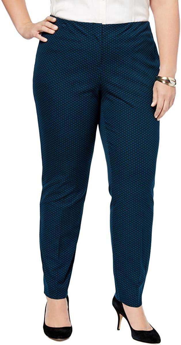 Alfani Womens Plus Knit Printed Skinny Pants Blue 24W