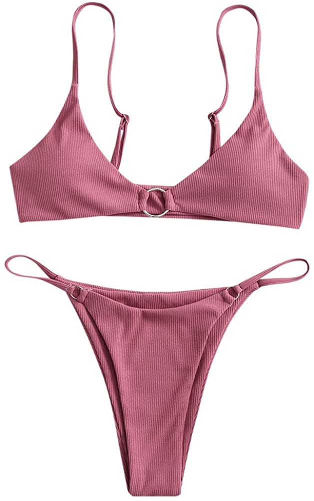 ZAFUL Swimsuits for Women Ribbed O-Ring Padded String Bikini Set Low Waisted Two Pieces Bathing Suits