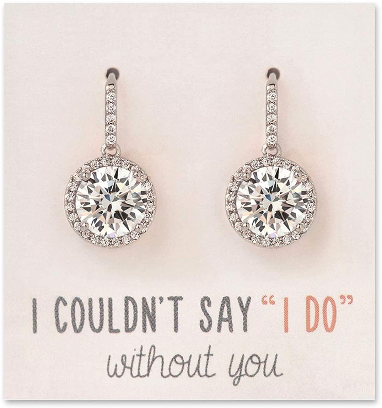 A+O Wedding Bridesmaid Earrings Gift, Cubic Zirconia Drop Dangle Earrings in Silver, Gold, Rose Gold