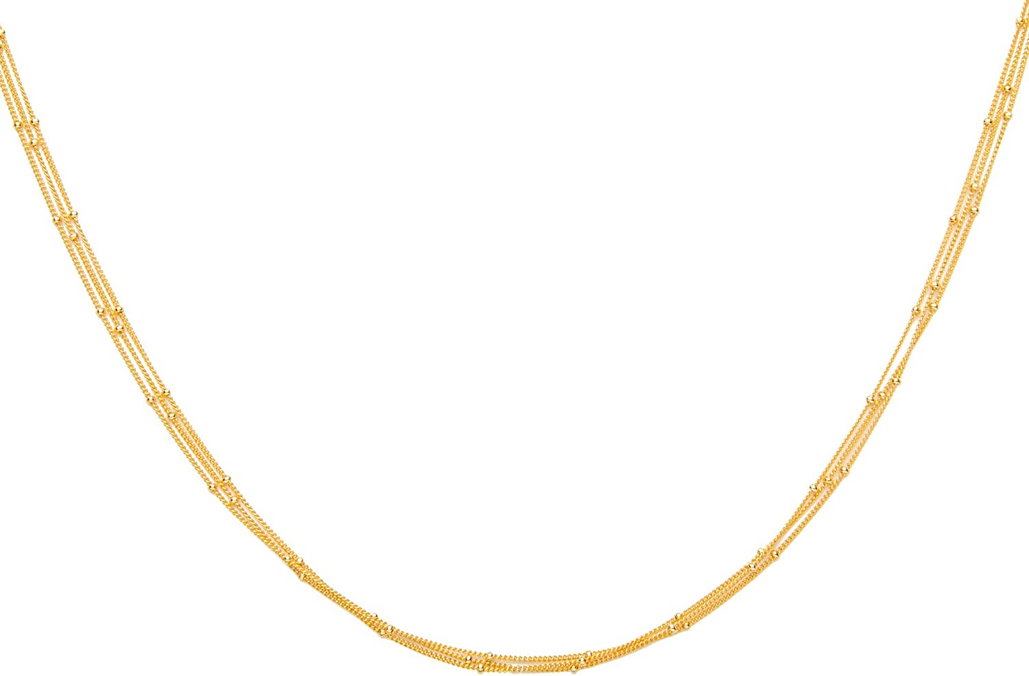 Timeless 18-Karat Vermeil Chokers - Made of Gold Plated Three Delicate Chains 100% Nickel-Free