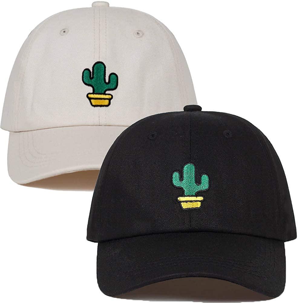 2-Pack Embroidered Dad Hat Women Men Cute Adjustable Cotton Floral Baseball Cap Cactus Black & Sand