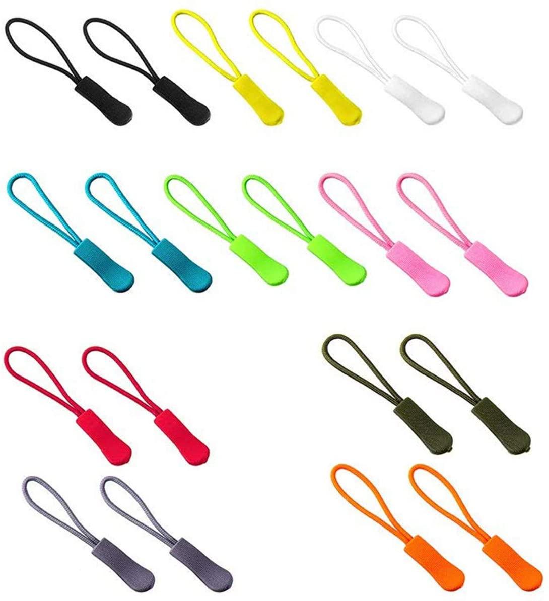 BOROLA 20pcs Zipper Pulls PVC Nylon Cord Zipper Tab for Backpacks, Jackets, Luggage, Purses, Handbags (10 Colors)