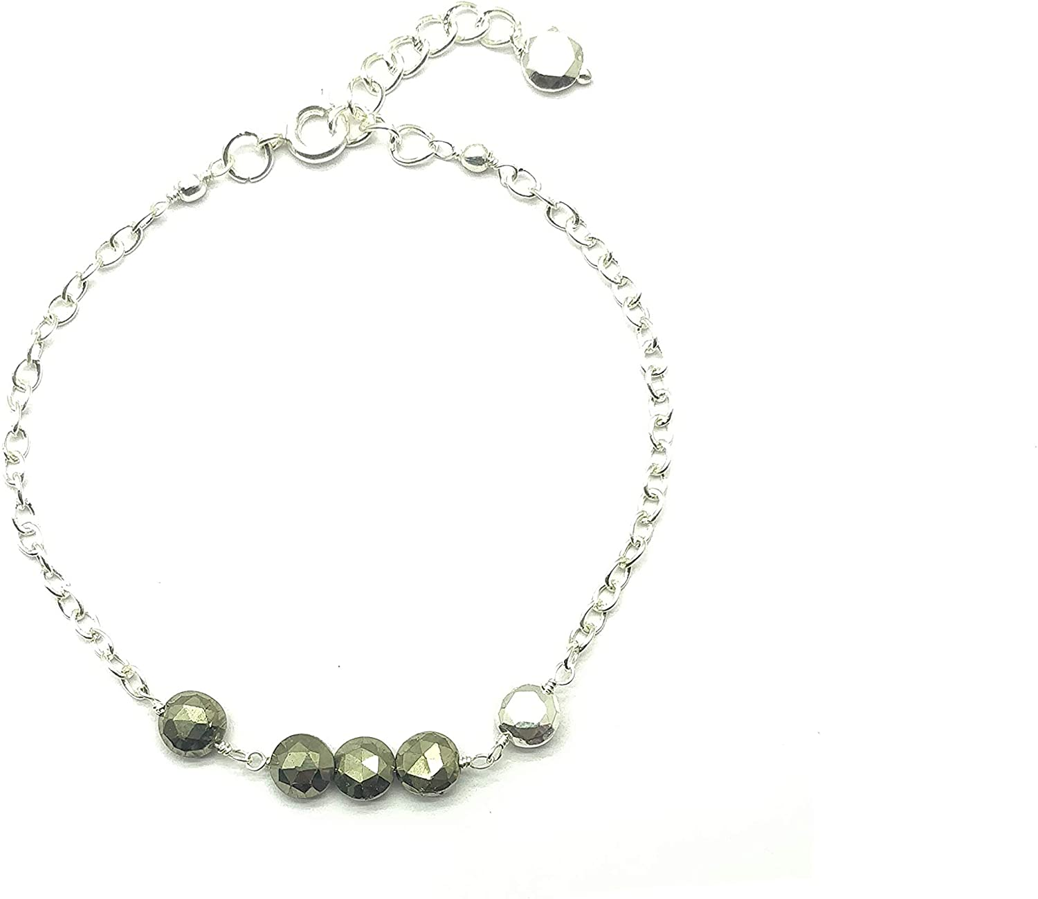Natural Pyrite Silver plated, 5x5mm Coin Faceted 7 inch Adjustable bracelet beaded bar bracelet jewelry for GF & Wife, Mother gift