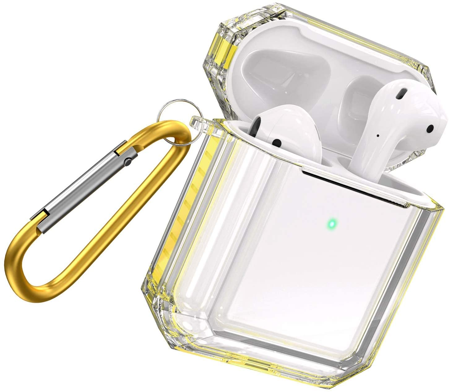 Fitlink Case for AirPods 2&1, Anti-Scratch Shock-Absorption Soft TPU Crystal Clear Case Cover for Apple AirPods 2&1 in Charging Case with Carabiner (AirPods with Wireless Charging Case, Yellow)
