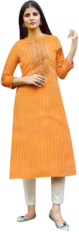 ladyline Rayon Silk Embroidery Sequins Kurtis for Women Indian Kurta Tunic Dress