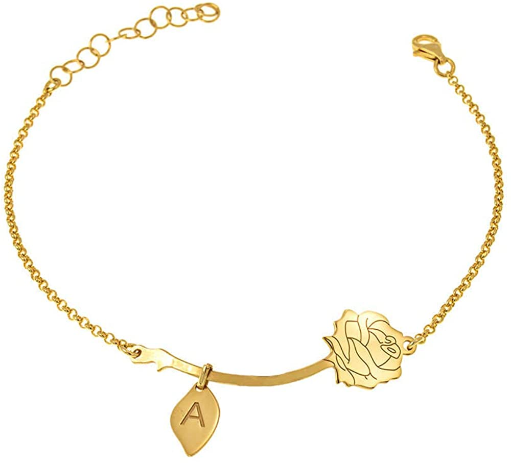 Suxerlry Womens Personalized Sterling Silver Engraved Custom Initial Rose Bracelets with Leaves