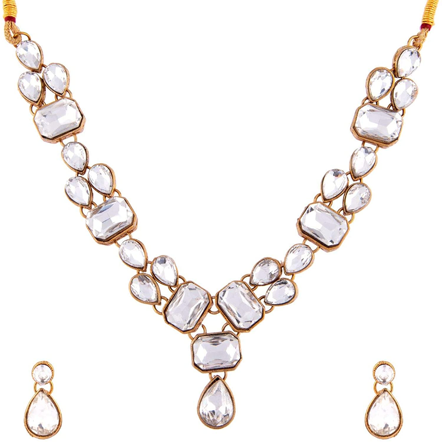 Efulgenz Fashion Chunky Crystal Faux Pearl Vintage Antique Gold Plated Statement Collar Choker Necklace Earrings Jewelry Set