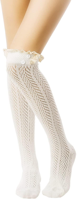 iB-iP Women's Knitting Japanese Style Eyelet Lace Stitching Knee High Long Socks