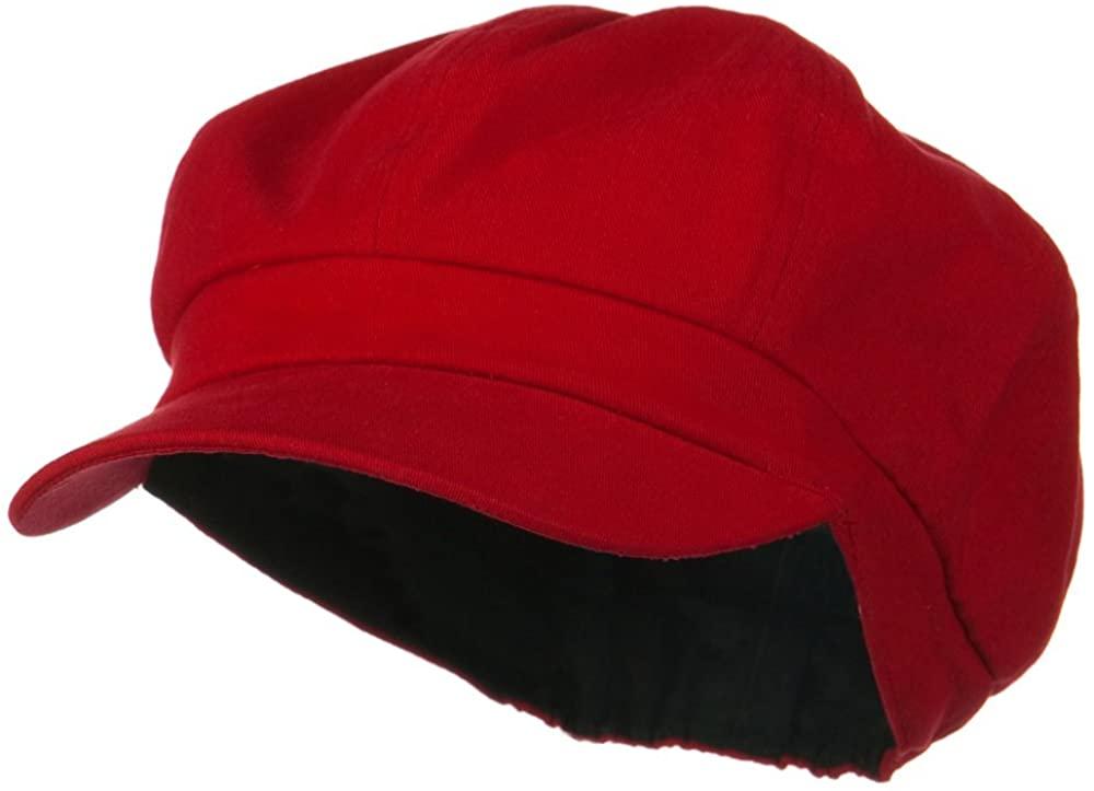 Cotton Elastic Newsboy Cap - Red XS/S