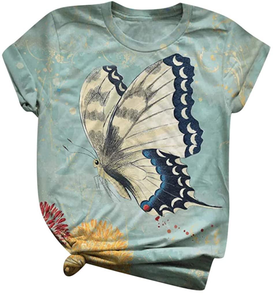 Womens Graphic Tees, Ulanda 2020 Women Summer Tops Butterfly T Shirt Casual Short Sleeve Printed Tee Shirt