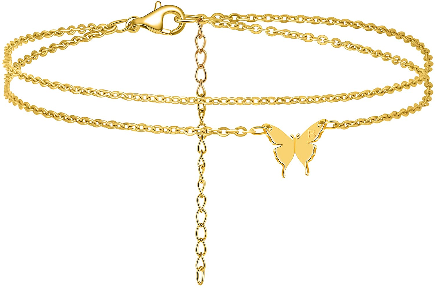MEMGIFT Butterfly Anklets for Women Teen Girls Two Layered Dainty 18K Real Gold Ankle Bracelet Personalized Handmade Cute 26 Letter A-Z Engraved Fashion Trendy Beach Simple Jewelry