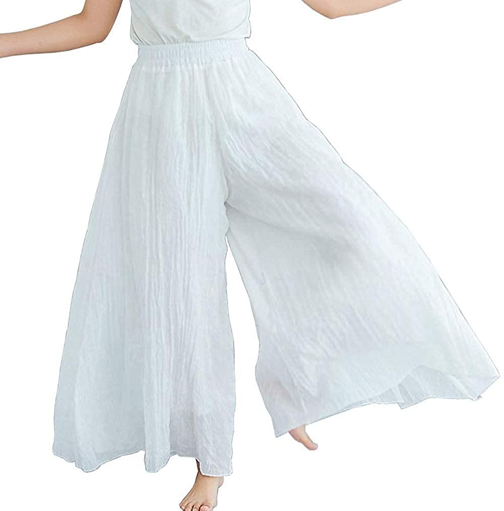 BININBOX Women's Casual Elastic High Waist Wide Leg Cotton Linen Pants Trousers Skirt Elegant Flowy Wide Leg Pants Loose