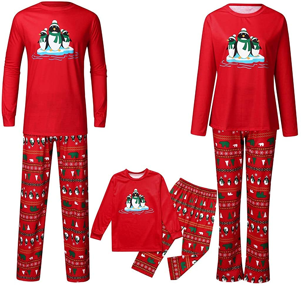 GorNorriss Christmas Pajamas for Family, X-mas Family Union Suits, 2Pcs PJs Sets Long Sleeve T-Shirt+Plaid Pants