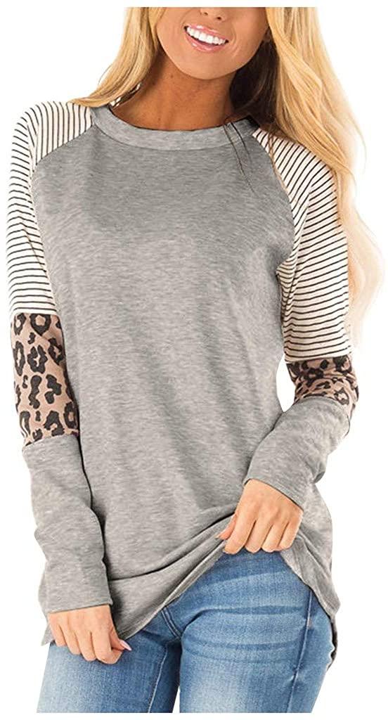 Eduavar Womens Top,Womens Fashion Leopard Print Long Sleeve Colorblock Sweatshirt Casual Loose Pullover Shirt Blouse Top