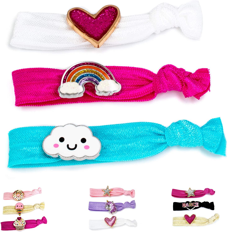 CHARM IT! Elastic Hair Ties for Girls (Dance, Rainbow, Sweets or Unicorn)