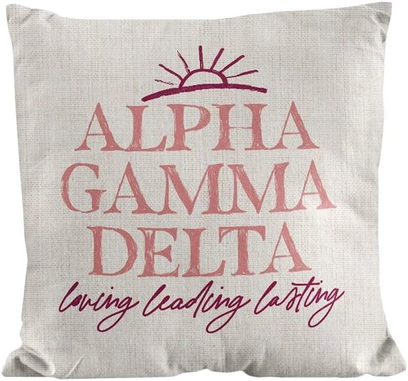 Alpha Gamma Delta Line Sun Pillow Light Grey