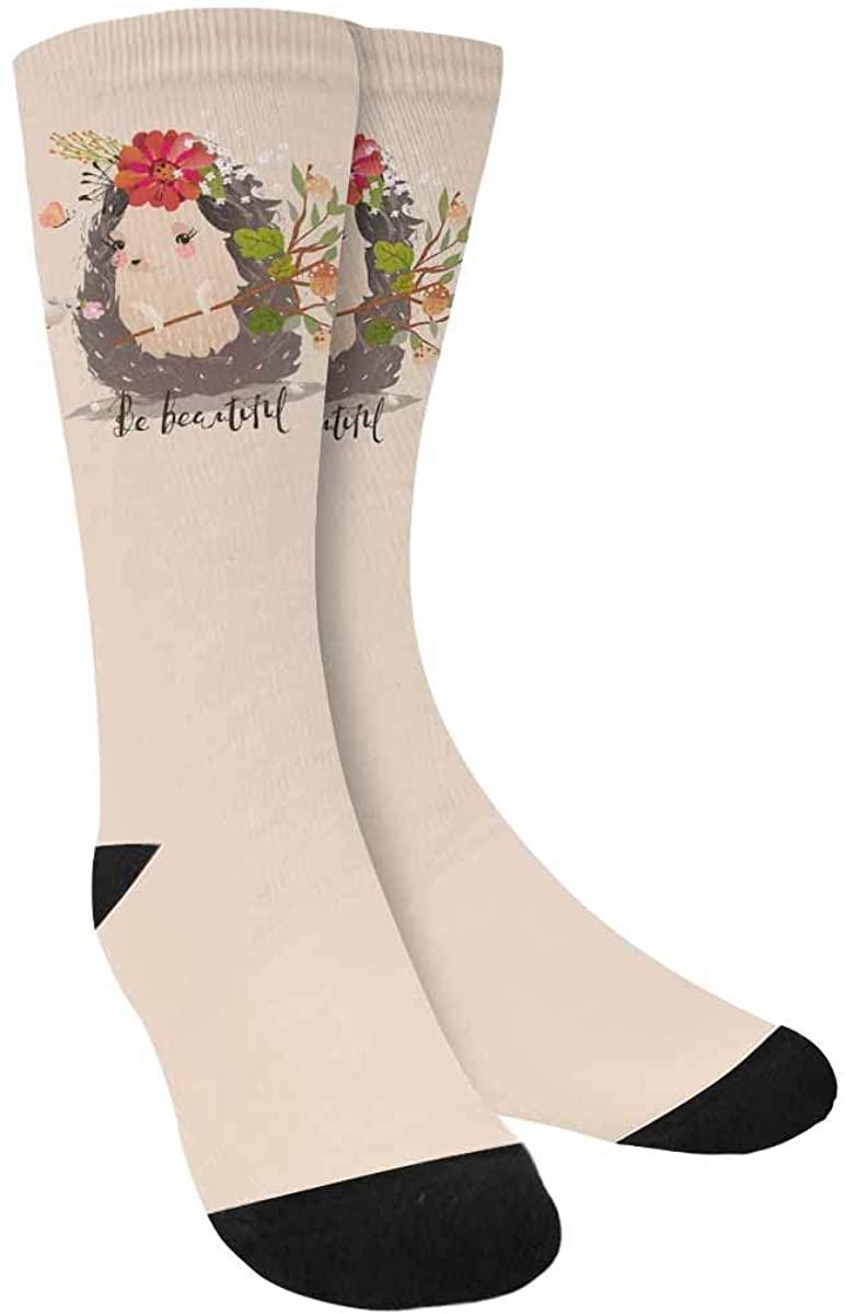 InterestPrint Funny Cartoon Animal Art Crew Socks Adult Athletic Sublimated Socks for Men Women