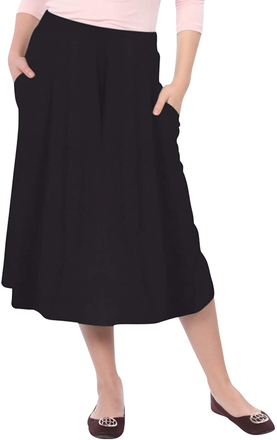 Kosher Casual Women's Modest Lightweight Mid-Calf A-Line Skirt with On Seam Pockets