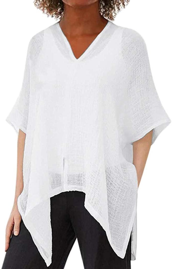 Vedolay 2020 Tops for Womens, Womens Solid Blouses T-Shirt Long Sleeve V-Neck Irregular Chiffon Tee Shirts
