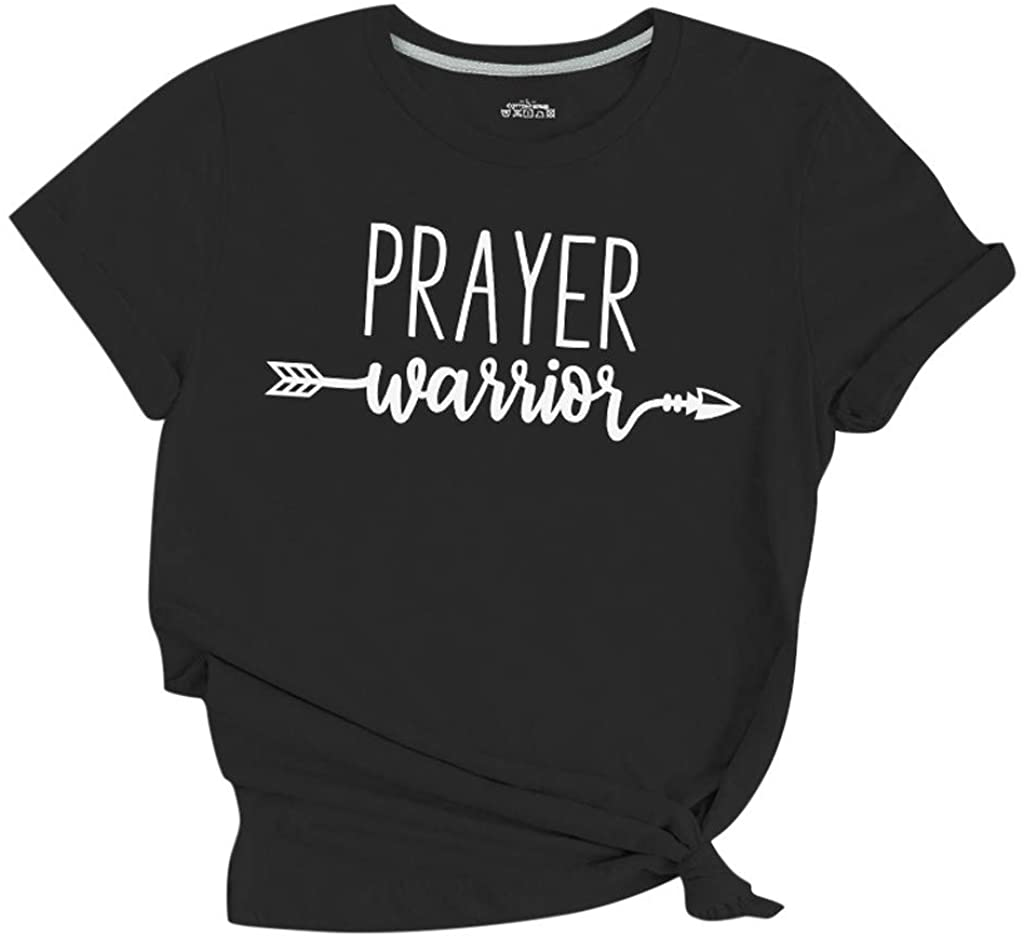 Eduavar Summer Tops Prayer Warrior Fashion Letter Print T-Shirt Top Casual Shirts for Women Girls with Sayings Tees