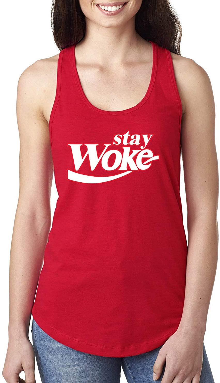Stay Woke CokeParody | Womens Pop Culture Jersey Racerback Tank Top