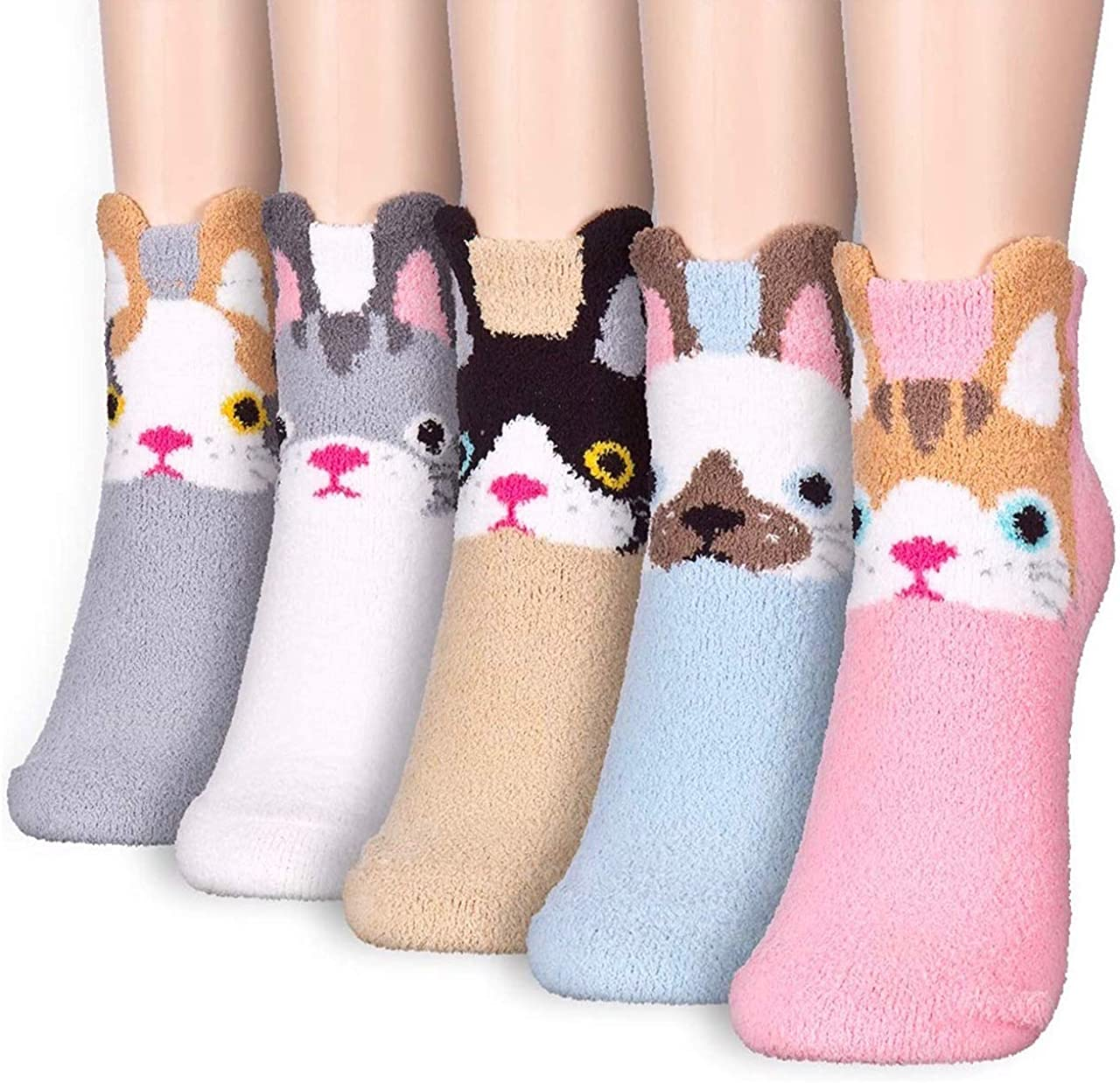 GotYourToes | Women Teen Girls | Cute Dog Cat Animal Print | Cozy Warm Fuzzy Soft Thermal | Ankle / Crew Socks | Great Gifts