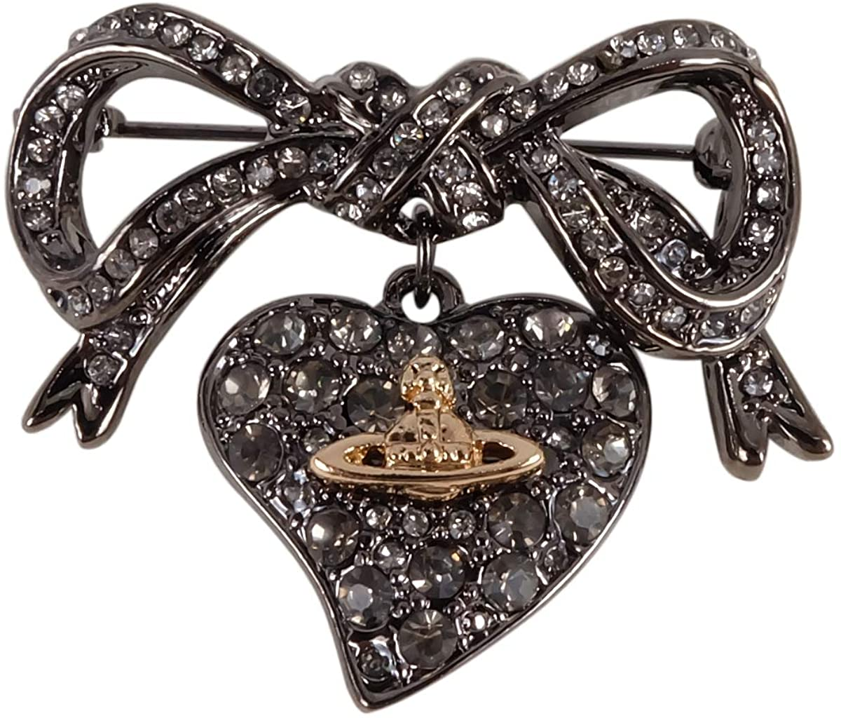 Vivienne Westwood Titanium Black Bow Brooch with Exclusive Box and Paper Bag