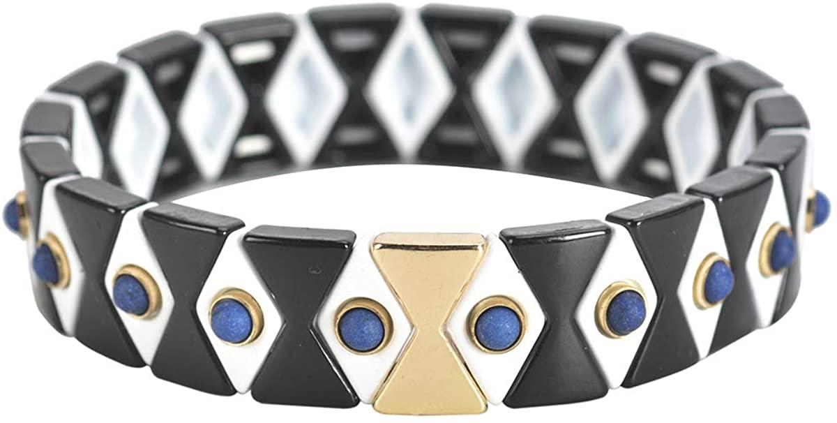 Coolcos Argyle Tile Enamel Bracelet, Decorated Natural Stone Beads Bracelet, 2020 Enameled Beaded Elastic Stretch Stretchy Bracelets for Women Ladies