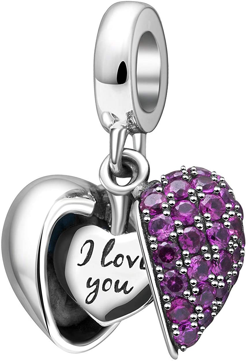 Love Heart Authentic Original 100% 925 Sterling Silver Charm Bead Beautiful Crystal Bow Charms Fit Pandora Charms Bracelet Women Necklace Pendant Jewelry … (Purple Charms)